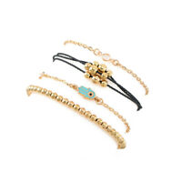 4Pcs Fashion Women Crystal Evil Eye Adjustable Rope Gold Chain Bracelet Jewelry