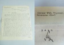 Konsul Wilhelm THYSSEN: Brief ESSEN 1933 über Patent für Auto-Diebstahlsicherung