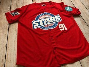Vintage LAS VEGAS STARS AREA 51 NY METS #91 Baseball JERSEY Men XL Alien Red❄️H8