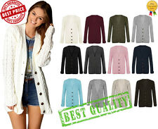 Womens Long Sleeve Jumper Top Ladies Chunky Aran Cable Knitted Grandad Cardigan