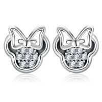 ZARD Delicate Minnie Mouse Stud Earrings in Sterling Silver and Clear CZ