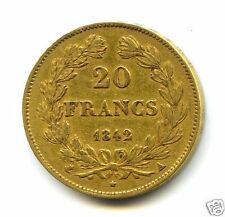 LOUIS PHILIPPE I (1830-1848) 20 FRANCS OR GOLD 1842 A PARIS RARE