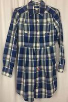 Walter Shirt Dress Blue White Plaid Size XS 100% Cotton Long Sleeve Asymmetrical
