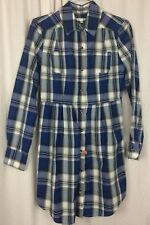 Walter SHIRT DRESS Blue White Plaid Size XS 100% Cotton Long Sleeve Asymmetrical