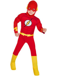 New w/Defects-Childs The Flash Muscle Chest Fancy Dress Costume Superheroes Kids