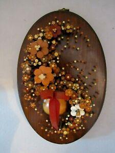 Pol-O-Craft Originator Nail Flower Art Pauline A. Owens 1977 Wood Plaque Left