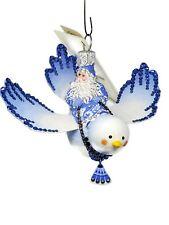 Patricia Breen Skylark Santa Bird Chinoiserie Blue Spring Tree Ornament