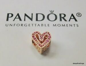 AUTHENTIC PANDORA ROSE™ SPARKLING RUBY RED AND PINK FREEHAND HEART #798692C02 BX