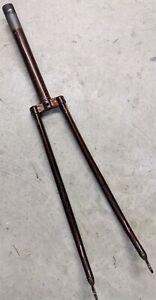 Vintage Raleigh Steel Bike Fork 27 Inch Wheel - 1 Inch Threaded, Root Beer Brown