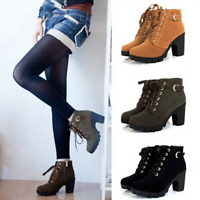 Fashion Women High Heels Ankle Boots Ladies Pumps Motorcycle Zip Lace up Boots
