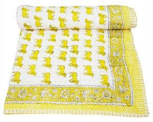 Indian Cotton Nursery Baby Kantha Quilt Bed Cover Throw Hand Block Print Blanket