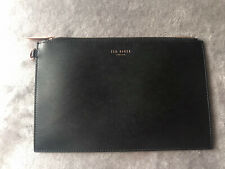 Black Leather Ted Baker Clutch Bag Pouch Rose Gold