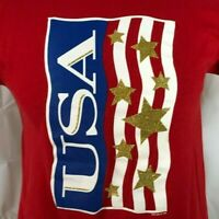 USA American Flag T Shirt Vintage 90s Gold Stars Stripes US Made Bright Red