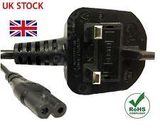 Figura De 2m de 8 Cable De Red/Cable De Alimentación Enchufe de Reino Unido de plomo Fig IEC C7 Laptop PS4 cielo.
