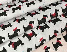 CUTE WHITE CHRISTMAS FESTIVE SCOTTIE DOG POLYCOTTON FABRIC 112cm WIDE PER METRE
