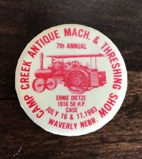 Vintage Camp Creek Antique Machinery Threshing Show Bee Waverly Ne 1983 Pinback