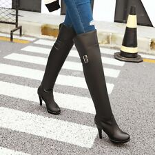 Women Over Knee Boots Stiletto High Heel Pull On Casual Simple Comfy Shoes XZ278