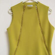 Ladies Yellow  Designer Summer Dress Calvin Klein Wedding Party  Size 8-10 Uk