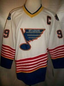 """Wayne Gretzky St. Louis Blues White & Blue """"1995-1998 Throwback"""" CCM NHL Jersey"""