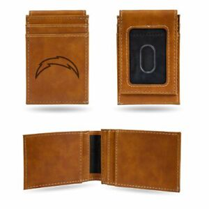 Los Angeles Chargers Laser Engraved Brown Front Pocket Wallet/Money Clip