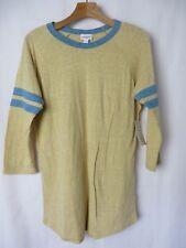 LuLaRoe Randy Tee Shirt Heather Yellow w Blue Stripes on Raglan Sleeve M  #5544