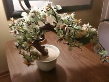 Antique half Moon Jade Flower Bonsai Tree in pebble Pot