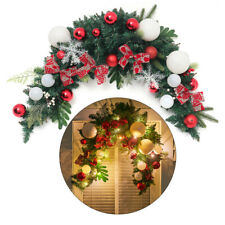 More details for christmas garland 120cm wreath hanging with baubles & led lights home ornament