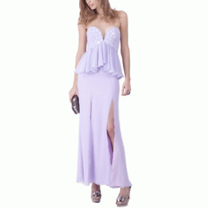 BARIANO - Embellished Peplum Double Split Gown (BXD22-LB - Lavender)