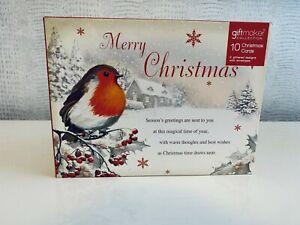 Giftmaker 10 Christmas Cards 2 Designs Glitter Detail with envelopes