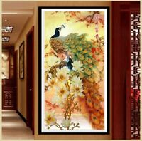 Beautiful Peacock Pre-printed Cross Stitch Kit 11ct aida 69x124cm Free P&P (H)