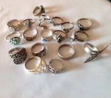 Sterling Silver Ring LOT Marcasite, CZ, Turquoise Chip, 18 Rings, 63 grams