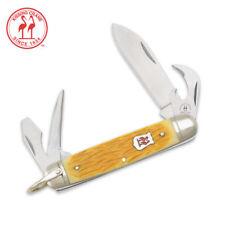 Kissing Crane Yellow Jigged Bone Boy Scout Pocket Knife KC5125