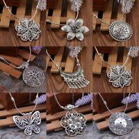 Vintage Women Tibetan Silver Turquoise Beads Tassel Geometric Pendant Necklace