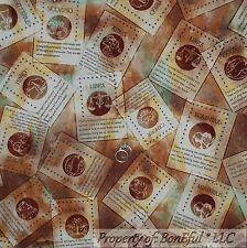 BonEful Fabric FQ Cotton Quilt Brown Horoscope Zodiac Girl Yoga Sign Pisces Word