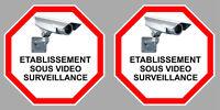 2 X ETABLISSEMENT VIDEO SURVEILLANCE CAMERA  9cm AUTOCOLLANT STICKER VA096