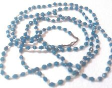 """NECKLACE, BRIGHT BLUE FACETED GLASS BEADS.TINY WHITE BETWEEN. 54"""" STRAND VGC"""
