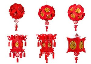 Chinese Hanging Red Hollow Lanterns For Wedding New Year