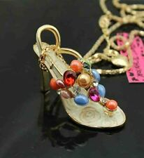 A613H    Betsey Johnson Crystal High-heeled shoes Pendant Sweater Necklace