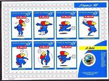 France 1998 Coupe Du Monde Football Mint Sheet