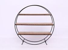 Round Black Metal / Wood Retro Display Cabinet Shelf Storage Freestanding Unit