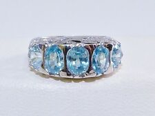 GENUINE! 3.32ct! Seafoam Zircon Oval/Round Cut Ring, Solid Sterling Silver 925!