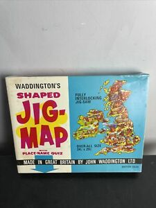 Vintage Waddington Shaped Jig-Map of North America with place name quiz
