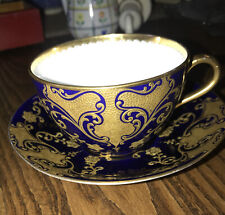 Aynsley Tea Cup and Saucer White / Dark Blue with Gold Gilding