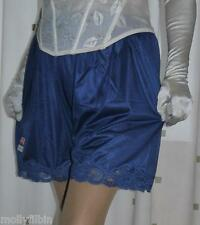 Vintage style blue silky nylon gusset french knickers panties - short culottes