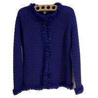 "Vintage ""Celena"" Bold bright blue Wool cardigan fluffy trim hem/sleeves Sz Large"