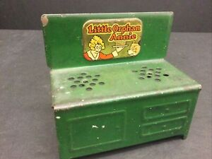 Antique 1930s Little Orphan Annie Tin Metal Green Stove Doll House TOY