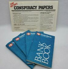 Vintage Milton Bradley Conspiracy Board Game Replacement Parts 4 Bank Books Inst