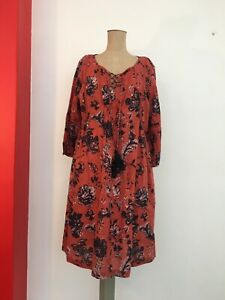 LOLA  Australia Dress S-M 10-12 BOHO rusty red floral Cotton TASSELS