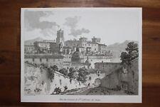 ✒ ca.1820 belle eau-forte ITALIE ROME vue du couvent de Sainte Catherine Sienne