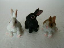 (G5.7)1/12th scale DOLLS HOUSE RESIN SET OF THREE ASSORTED RABBITS